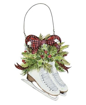 Ice Skates & Holly Ornament