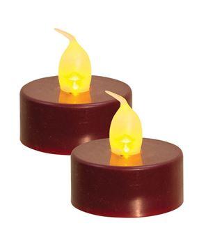 Burgundy LED Tealights, 2/pk