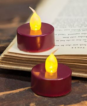 Burgundy LED Tealights, 2/pk