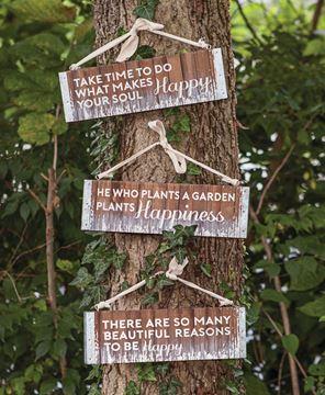 Be Happy Slatted Wood Hanger