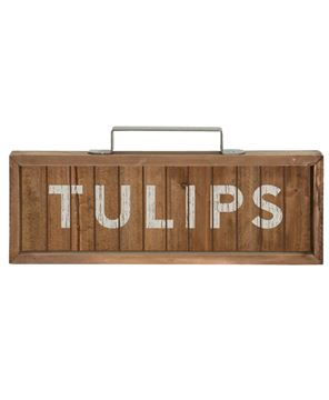 Tulips Slatted Wood Sign w/ Handle