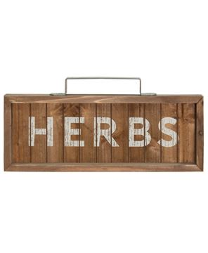 Herbs Slatted Wood Sign w/Handle