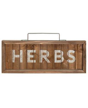 Herbs Slatted Wood Sign w/Handle