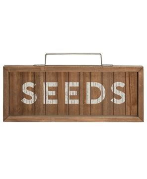 Seeds Slatted Wood Sign w/ Handle