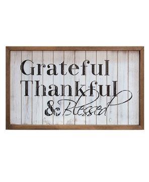 Framed Shiplap Grateful & Blessed Sign