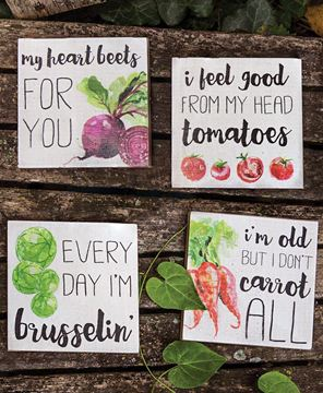 Picture of Heart Beets Block Signs, 4/set