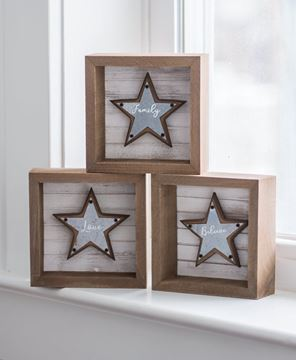 Picture of Believe, Family, Love Star Box Signs, 3/set