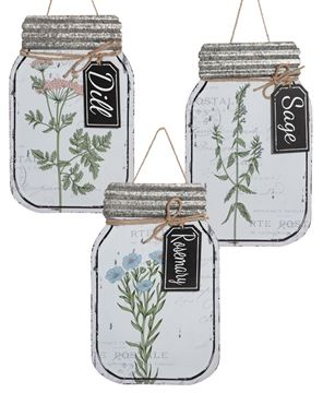 Picture of Herb Enamel Mason Jar Signs, 3/set