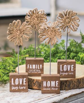 Picture of Love Lives Here Twine Flower Pedestal