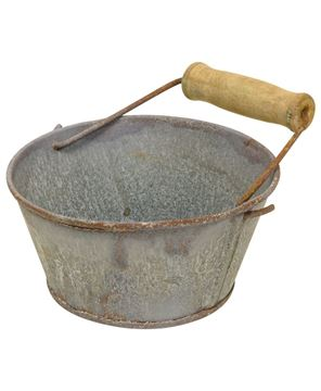 Picture of Washed Galvanized Bowl with Handle