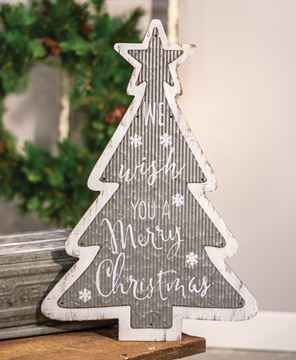 Picture of Galvanized Metal and Wood Merry Christmas Tree Sign