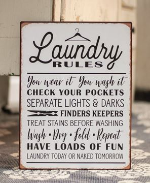 Picture of Laundry Rules Distressed Metal Sign