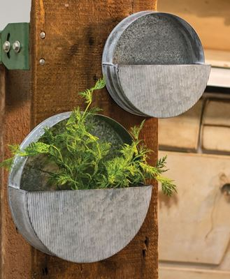 Picture of Galvanized Wall Planters, 2/Set