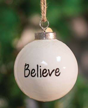 Picture of Believe White Ceramic Ornament