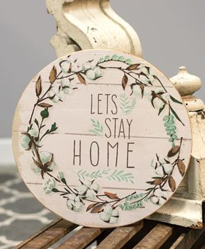 "Picture of Cotton and Floral Wall Sign, ""Let's Stay Home"""
