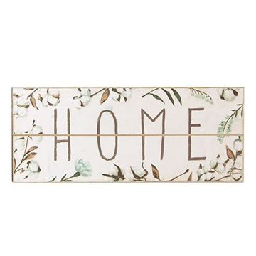 "Picture of Cotton and Floral Wall Sign, ""Home"""