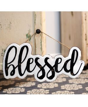 Picture of White Enamel Blessed Wall Sign