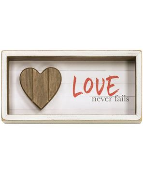 Picture of Love Never Fails Shadow Box Sign