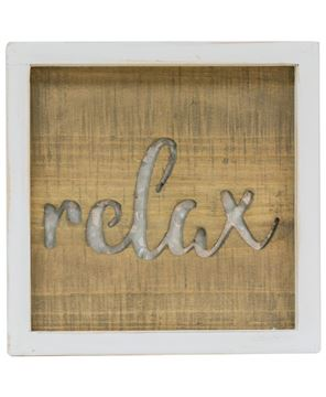 Picture of Framed Metal Cutout Sign, Relax