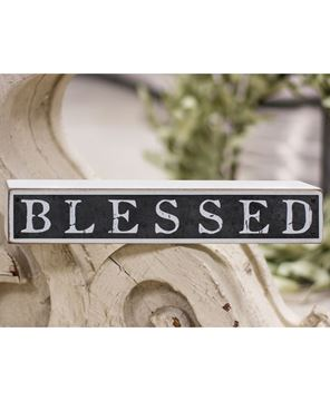 Picture of Blessed Galvanized Metal Wooden Block