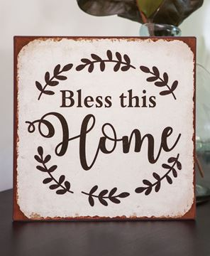 Picture of Bless This Home Distressed Metal Sign