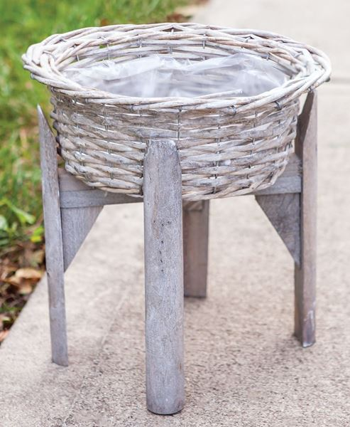 Picture of Gray Willow Flower Basket Stand, Small