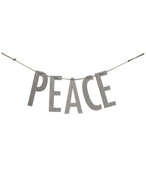 "Picture of ""Peace"" Silver Wood Garland"