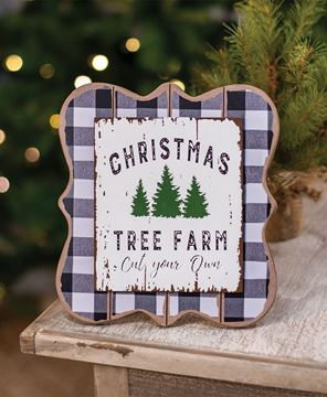 Picture of Christmas Tree Farm Buffalo Check Easel