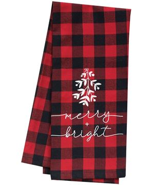 Picture of Red Buffalo Check Merry & Bright Christmas Towel