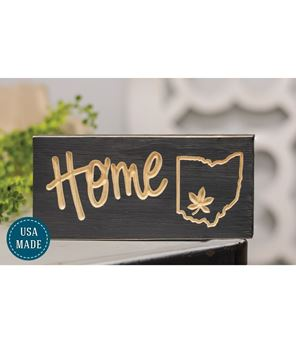 Picture of Engraved Home with Ohio & Buckeye Leaf Sign