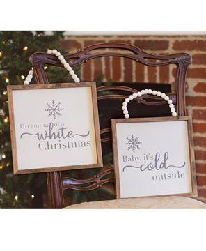 Picture of White Christmas Beaded Sign