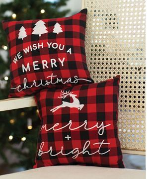 Picture of Merry & Bright Buffalo Check Pillow