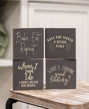 Picture of Bake, Eat, Repeat Square Block - Set of 4