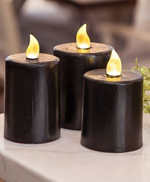 "Picture of Black Gloss Pillar Candle, 2.5"" x 3.5"""