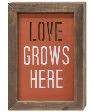 Picture of Love Grows Here Framed Cutout Sign