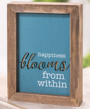 Picture of Happiness Blooms From Within Framed Cutout Sign