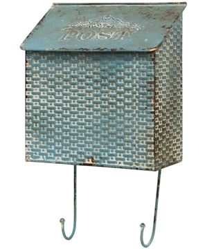 Picture of Vintage Blue Metal Basketweave Post Box w/ Hooks