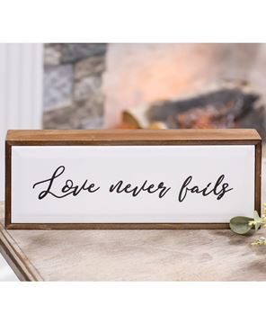 Picture of Love Never Fails Framed Tile Sign