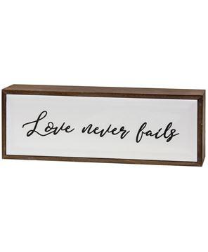 Picture of Love Never Fails Framed Tile Sign