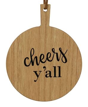 Picture of Cheers Y'all Mini Cutting Board Ornament, 2/Set