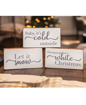 Picture of White Christmas Wood Block, 3/Set