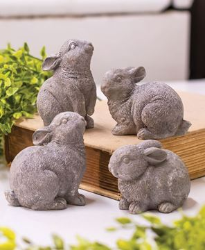 Picture of Gray Resin Bunny, 4 Set