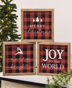 Picture of Joy to the World Buffalo Check Box Sign 3/set