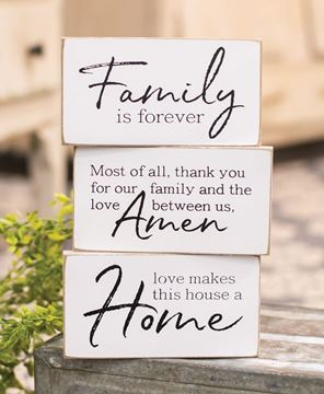 Picture of Family is Forever Wooden Block, 3/Set