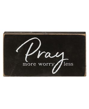 Picture of Pray More, Worry Less Wooden Block, 3/Set