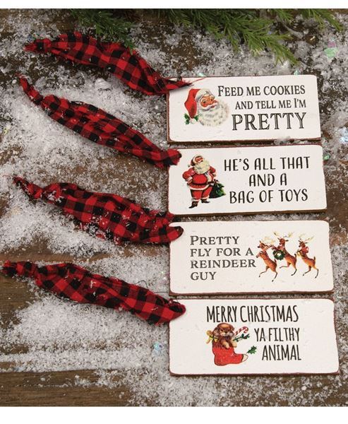 Picture of Christmas Present Wooden Gift Tags, 4/Set