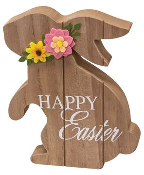 Picture of Happy Easter Standing Wooden Bunny