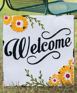 Picture of Welcome Sunflower Vintage Metal Wall Plaque