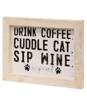Picture of Coffee, Cat and Wine Framed Sign