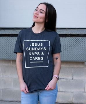 Picture of Jesus, Sundays, Naps, & Carbs, T- Shirt - Charcoal  Gray - XXL